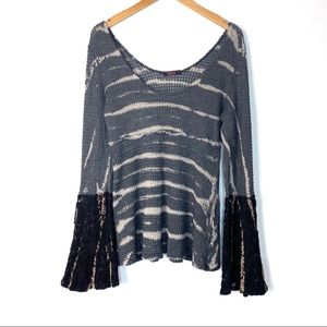 T Party Tie Dye Lace Bell Sleeve Waffle Knit Top